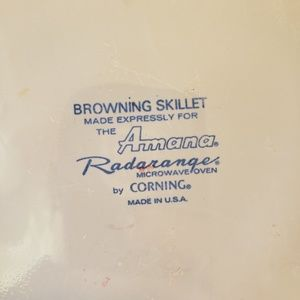 Corning Kitchen - VTG 1970s Corning For Amana Browning Skillet